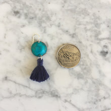 Load image into Gallery viewer, Tiny Turquoise + Indigo Tassel Earrings