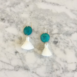 Tiny Turquoise + White Tassel Earrings