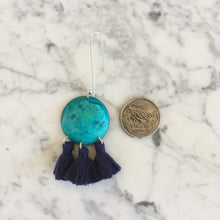 Load image into Gallery viewer, Turquoise + Indigo Tassel Earrings