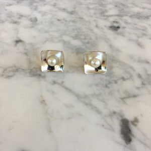 Silver + Pearl Studs