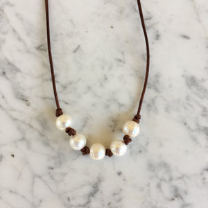 Five Pearl + Leather Necklace