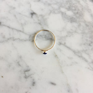 Tiny Lapis + Silver Ring