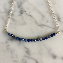 Load image into Gallery viewer, Delicate Lapis + Silver Bracelet