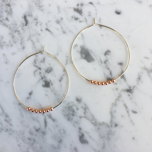 Sterling Silver + Copper Ball Hoops