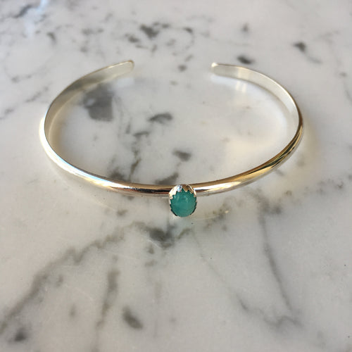 Single Stone Sterling Silver Cuff - Amazonite
