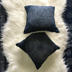Indigo Batik Tree Ring Pillow