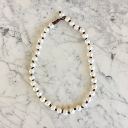 Pearl + Leather Knot Necklace
