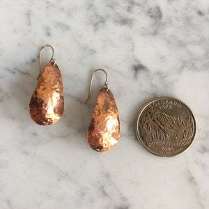 Mini Copper Teardrop Earrings