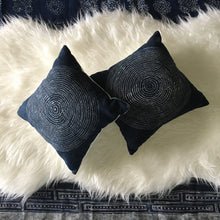 Load image into Gallery viewer, Indigo Batik Tree Ring Pillow