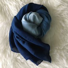 Load image into Gallery viewer, handmade indigo scarf, dipped dyed indigo scarf