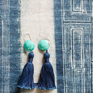 Turquoise + Indigo Tassel Earrings