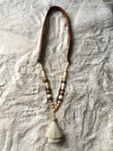 Load image into Gallery viewer, Horsehair Tassel + Wooden Bead Necklace