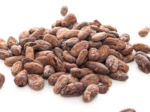 A pile of roasted cocoa nibs.