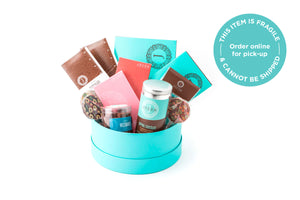Nestled in a gift box are a variety of seasonal products.