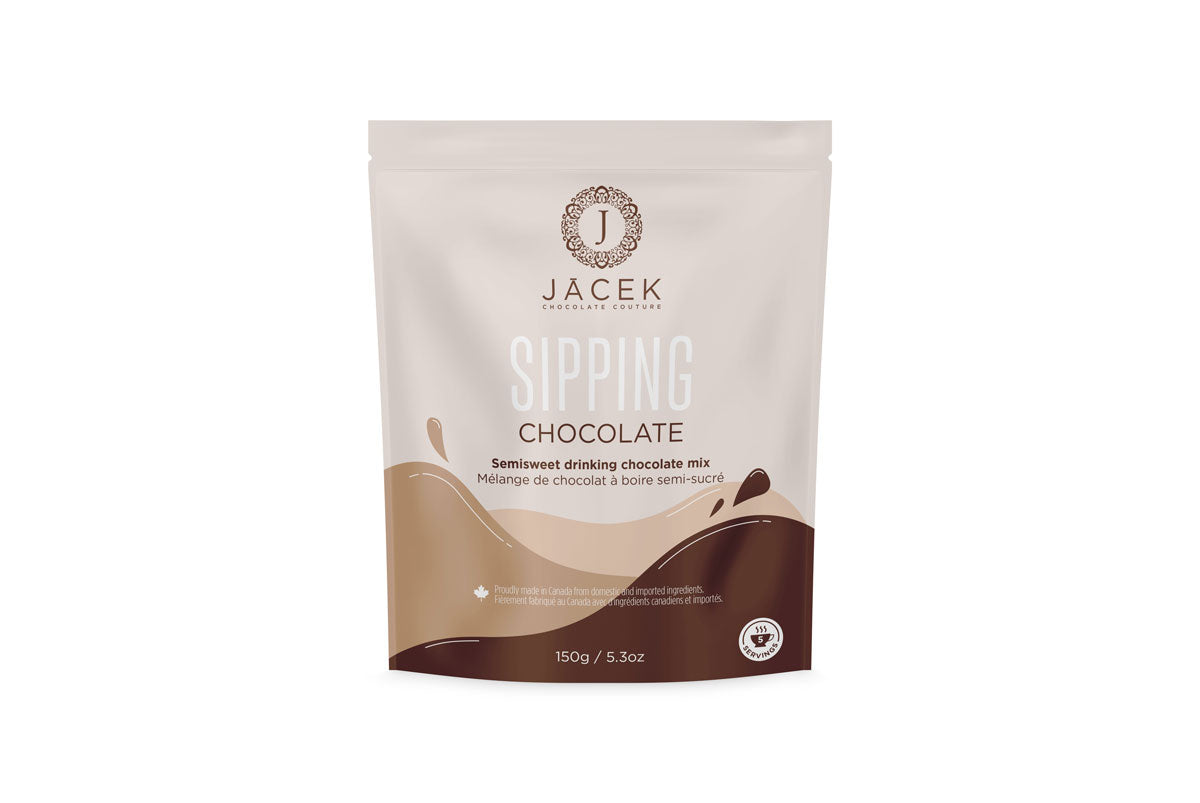 The JACEK sipping chocolate (hot chocolate) mix is packaged in a resealable pouch. The packaging is held in brown colour tones with shapes that mimic moving liquid.