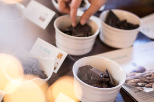 A variety of dark chocolate in small bowls for tasting.