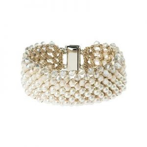 Wide Italian Pearl Cuff Bracelet with Magnetic Closure