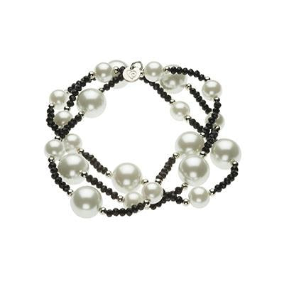 Black Crystal and Handwoven Pearl Stretch Bracelet
