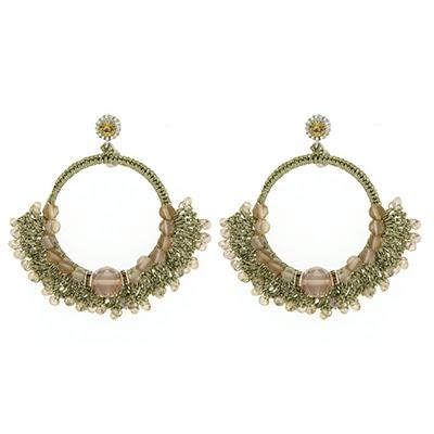 Handwoven Beige Stone and Crystal Gold Hoop Earrings