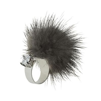 Adjustable Grey Mink Ring