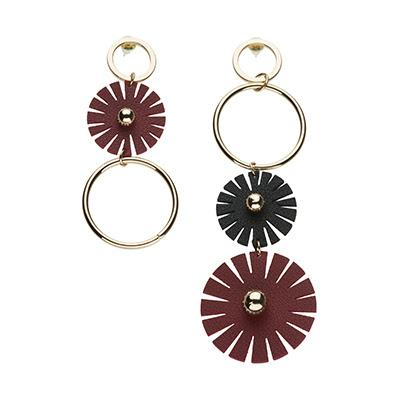 Asymmetric Burgundy, Black and Gold Pendant Earrings