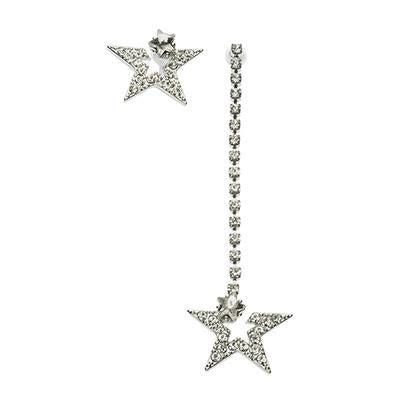 Asymmetric Silver Star Earrings