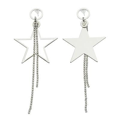 Asymmetric Silver Star Pendant Earrings