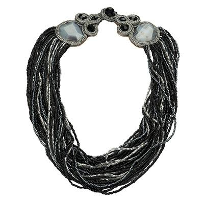 Black Glass and Stone Choker Plus Closure Jewel