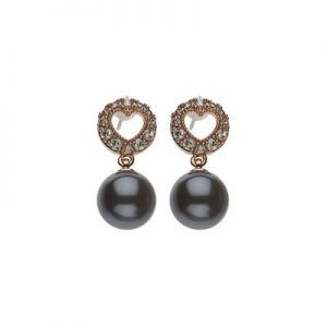 Black Pearl and Crystal Drop Earrings
