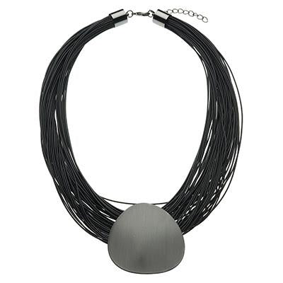 Black Satin Motif Choker Pendant Necklace