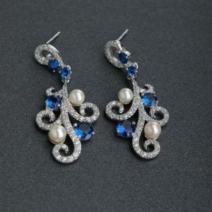 Blue Rhinestone and Pearl Silver Stud Earrings