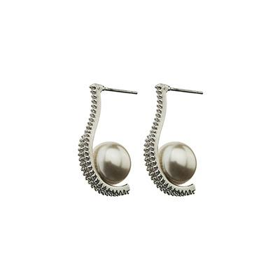 Drop Pearl Silver Earrings
