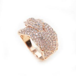 Fashionable Rose Gold Diamante Mother of Pearl Ring