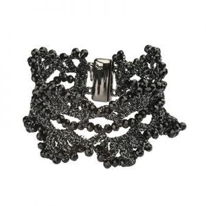 Filigree Black and Crystal Cuff with Magnetic Closure