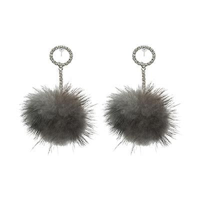 Grey Mink Drop Earrings