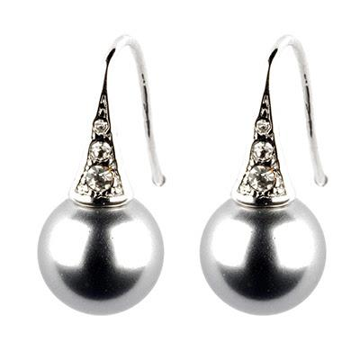 Grey Pearl and Crystal Earrings