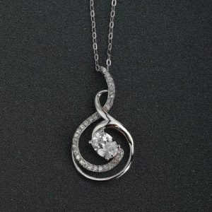 Hollow Note Diamante and Silver Necklace