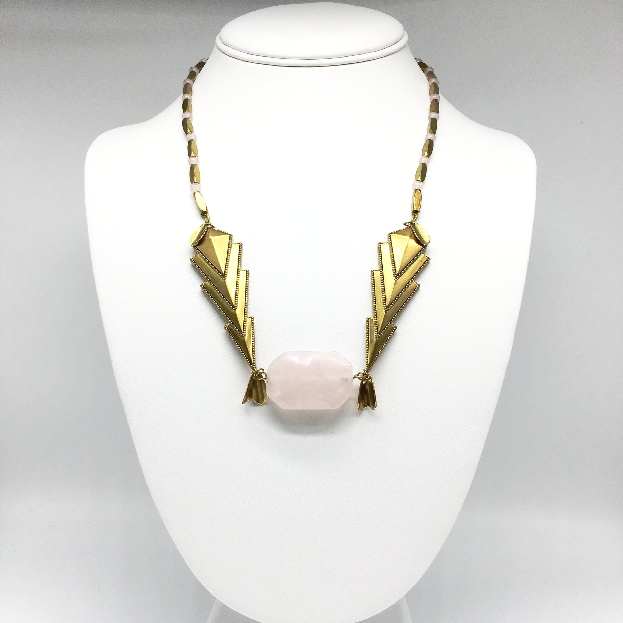 Eastern Elegance Bronze and Rose Quartz Necklace