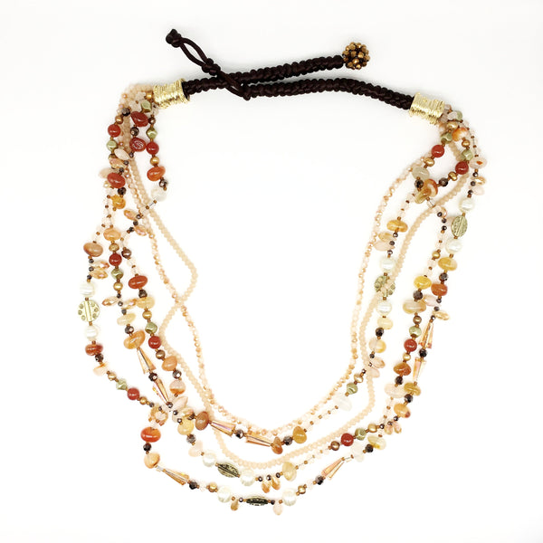 Multi Strand Peach Agate and Crystal Necklace with Sea Bamboo