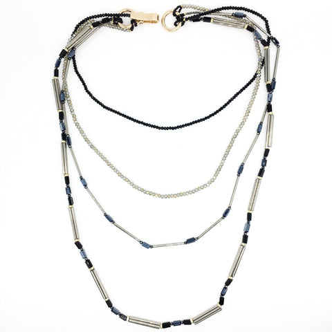Black, Grey & Blue Crystal Necklace