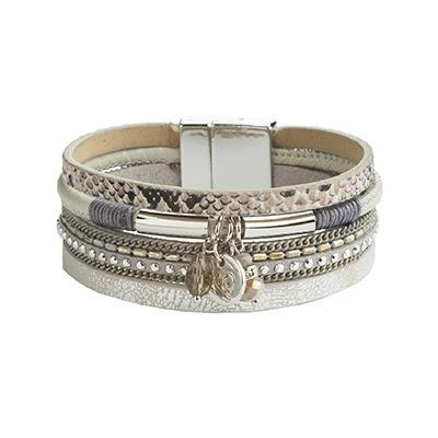 Multi-strand Grey Leather Bracelet