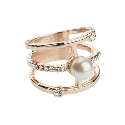 Pearl and Crystal Rose Gold Ring