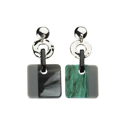 Petroleum and Grey Square Drop Earrings