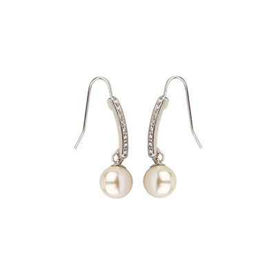 Silver Drop Pearl and Crystal Earrings