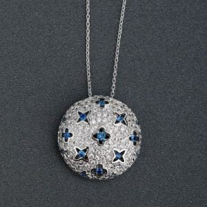 Silver Round Pendant inlaid with Blue Diamante Stars