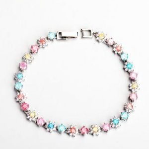 Simple Coloured Diamante and Zircon Silver Bracelet