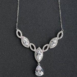 Simple Pretty Silver Diamanté Necklace