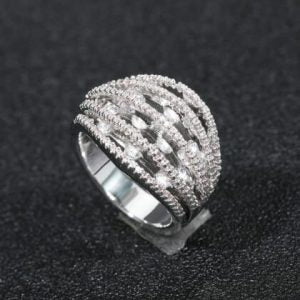 Silver Inlaid Zircon Diamante Ring