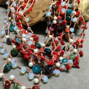 Stunning Multi Strand Red Crystal Necklace
