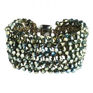 Wide Green Crystal Cuff Bracelet with Magnetic Closure